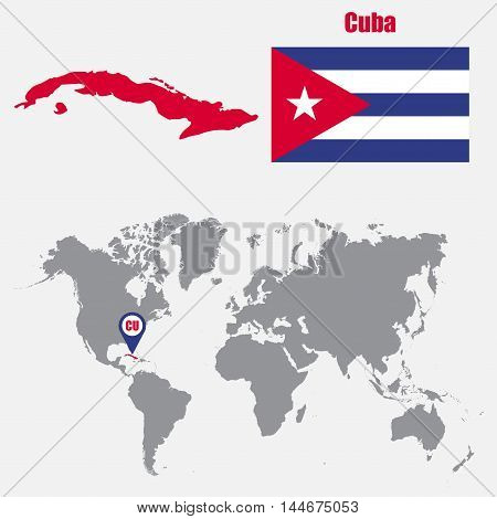 Cuba map on a world map with flag and map pointer. Vector illustration