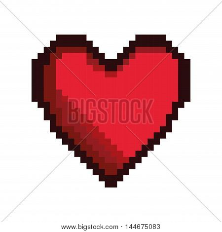 heart game pixel figure isolated icon vector illustration design