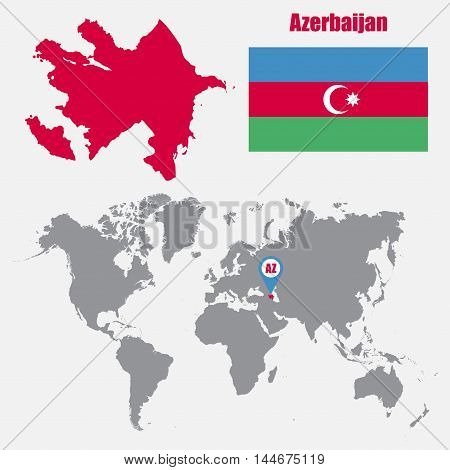 Azerbaijan map on a world map with flag and map pointer. Vector illustration