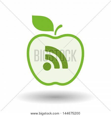 Isolated  Line Art Apple Icon With An Rss Sign