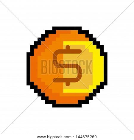 coin game pixel figure isolated icon vector illustration design