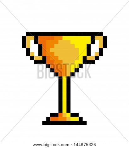 trophy gold game pixel figure isolated icon vector illustration design