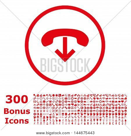 Phone Hang Up rounded icon with 300 bonus icons. Vector illustration style is flat iconic symbols, red color, white background.