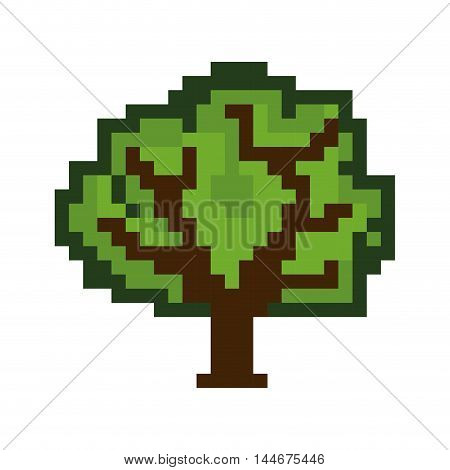 tree game pixel figure isolated icon vector illustration design
