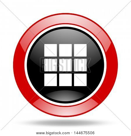 thumbnails grid round glossy red and black web icon