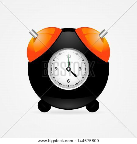 Isolated vector black alarm clock on white background