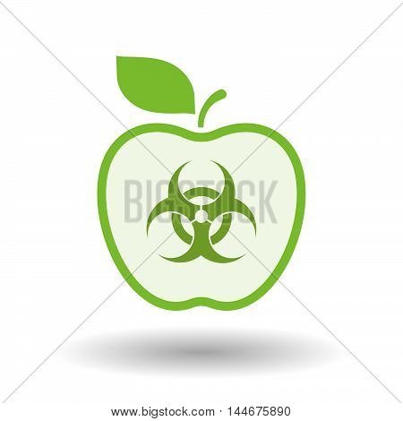 Isolated  Line Art Apple Icon With A Biohazard Sign