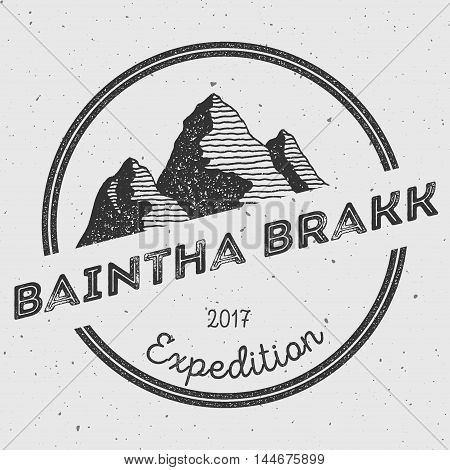 Baintha Brakk In Panmah Muztagh, Pakistan Outdoor Adventure Logo. Round Expedition Vector Insignia.