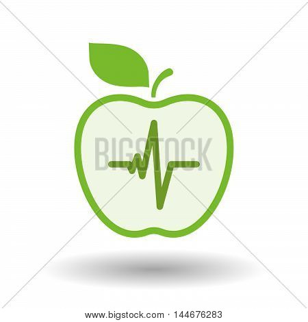 Isolated  Line Art Apple Icon With A Heart Beat Sign