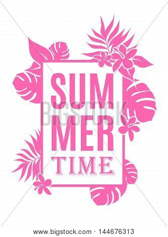 Summer time background with leaves and flowers and place for your text.