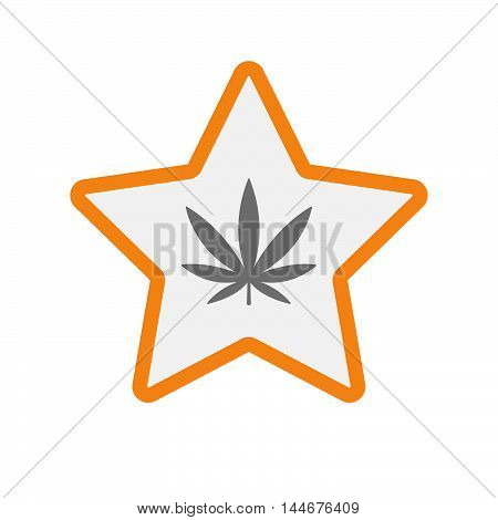 Isolated  Line Art Star Icon With A Marijuana Leaf