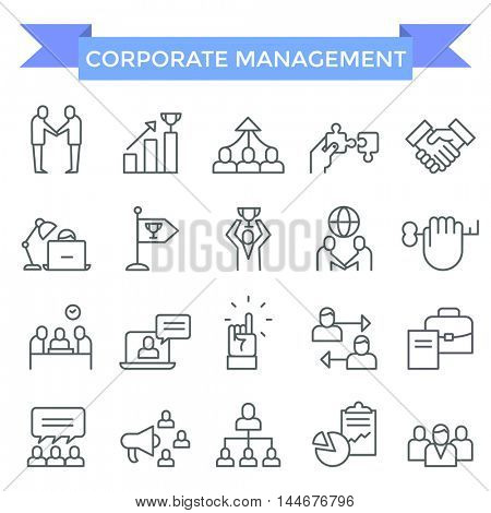 Corporate business management icons, thin line, flat design