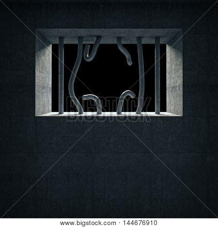 3d image of broken prison iron bars