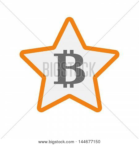 Isolated  Line Art Star Icon With A Bit Coin Sign