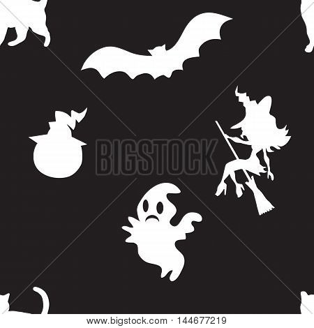 Seamless pattern for Halloween on black background