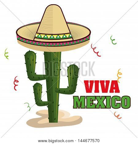 viva mexico poster cactus isolated vector illustration design