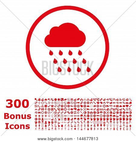 Rain Cloud rounded icon with 300 bonus icons. Vector illustration style is flat iconic symbols, red color, white background.