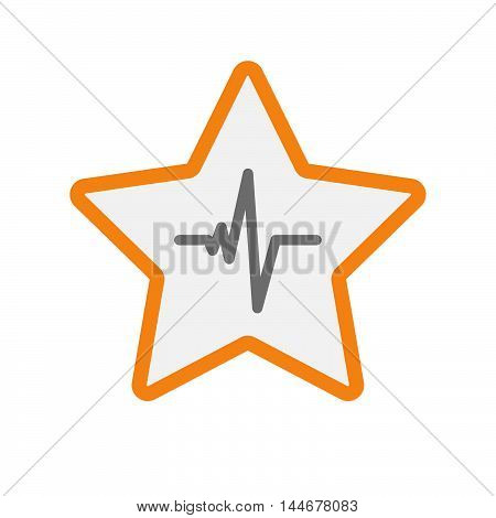 Isolated  Line Art Star Icon With A Heart Beat Sign