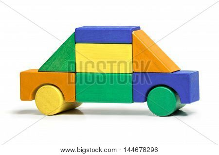 Toy Car Kids Simple Jigsaw Colors Wooden Blocks Isolated over White