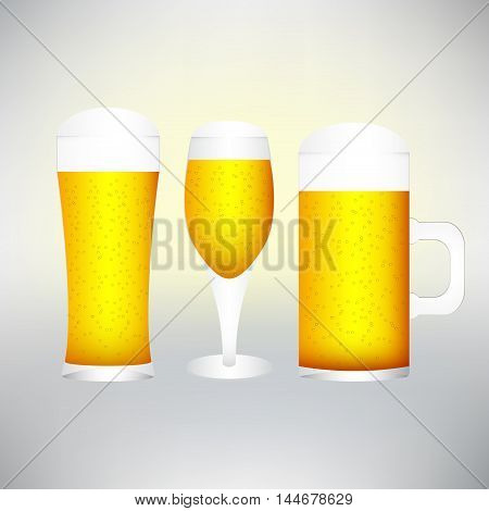 set with different glasses of beer on white- excellent quality.