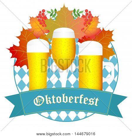 Oktoberfest greeting card. Oktoberfest design autumn. Oktoberfest blue background. Autumn background with leaves.