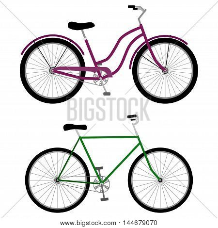 Bicycle icons on white background, vector illustration