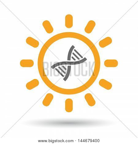 Isolated  Line Art Sun Icon With A Dna Sign