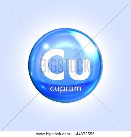 Copper mineral blue icon. Vector 3D glossy drop pill capsule  Cuprum mineral and vitamin complex. Healthy life medical and dietary supplement