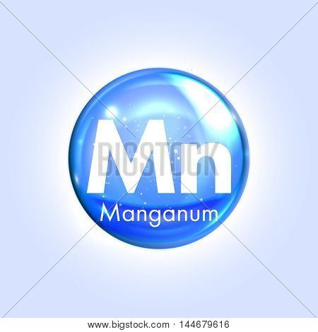 Manganese mineral blue icon. Vector 3D glossy drop pill capsule  Manganum mineral and vitamin complex. Healthy life medical and dietary supplement