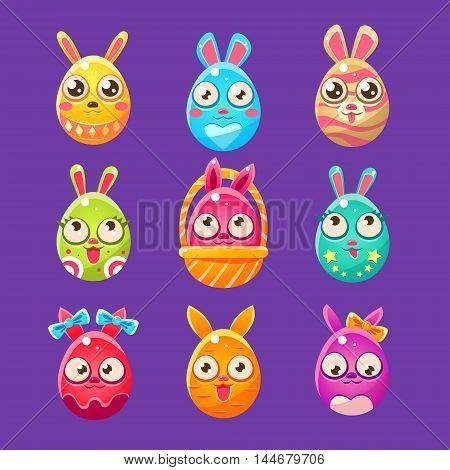 Easter Bunny In Shape Of An Egg In Different Designs.. Set Of Bright Color Vector Icons Isolated On Dark Background. Cute Childish Animal Characters Design.