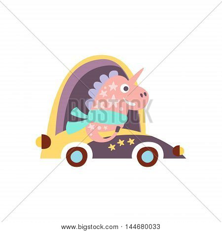 Unicorn In Racing Car Stylized Fantastic Illustration Childish Simplified Funny Flat Drawing On White Background