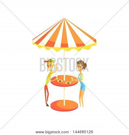 Coffee Shop Cafe Outdoors Table With Couple Having Lunch Cool Colorful Vector Illustration In Stylized Geometric Cartoon Design