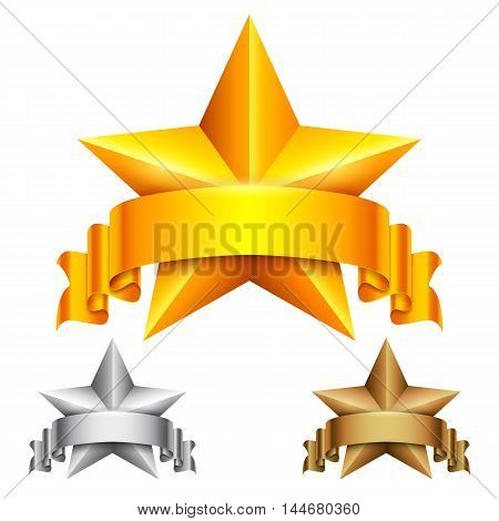 Golden, silver and bronze star award icons with ribbons