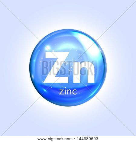 Zincum  mineral blue icon. Vector 3D glossy drop pill capsule. Zink Mineral and vitamin complex. Healthy life medical and dietary supplement