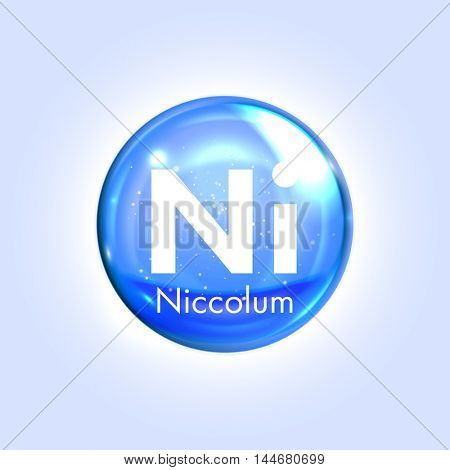 Niccolum mineral blue icon. Vector 3D glossy drop pill capsule  Nickel mineral and vitamin complex. Healthy life medical and dietary supplement