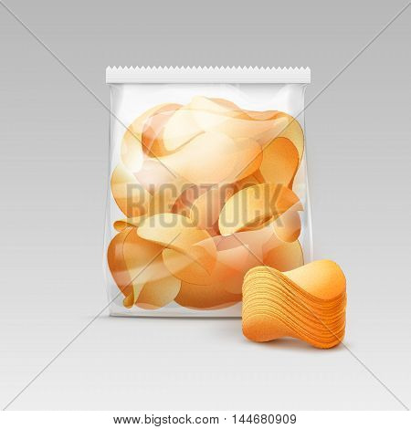 Vector White Vertical Sealed Transparent Plastic Bag for Package Design with Stack of Potato Crispy Chips Close up Isolated on White Background