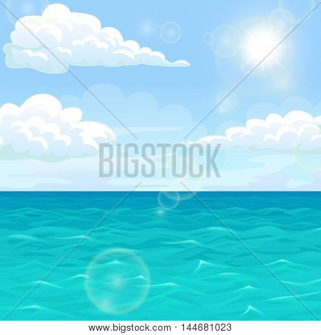 Sea summer landscape. Ocean, blue waves, sky, clouds, horizon and sun. Vector illustration of a square format.
