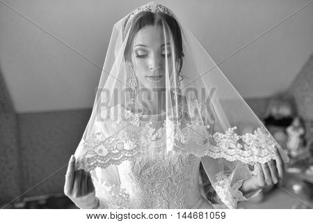 Beautiful bride under a transparent veil on wedding day .
