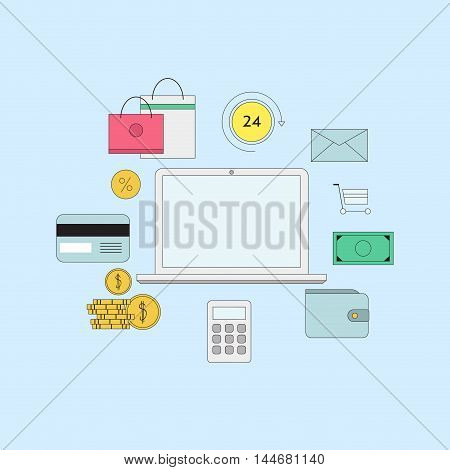 Set of flat thin line icons. E-commerce or payment online illustration.