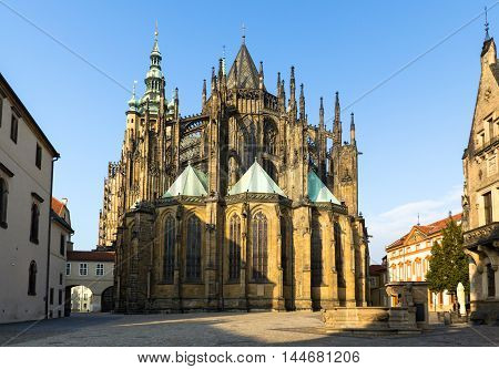 Gothic cathedral of Saint Vitus in Prague rear view