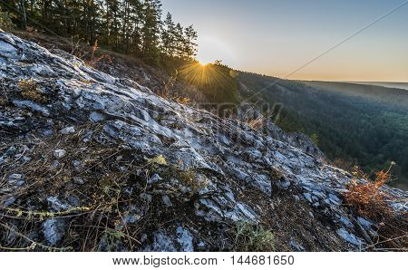 Bashkortostan Russia. Sunrise in the mountains of the southern Urals.