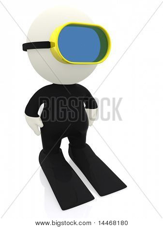 3D scuba diver - islated over a white background