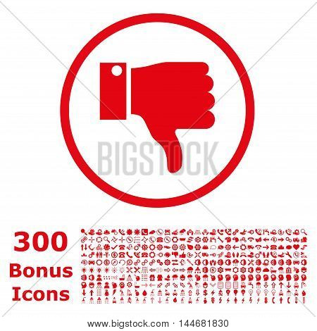 Thumb Down rounded icon with 300 bonus icons. Vector illustration style is flat iconic symbols, red color, white background.