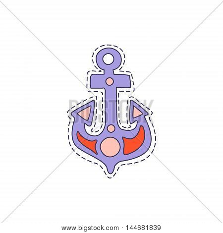 Ship Anchor Bright Hipster Sticker With Outlined Border In Childish Style