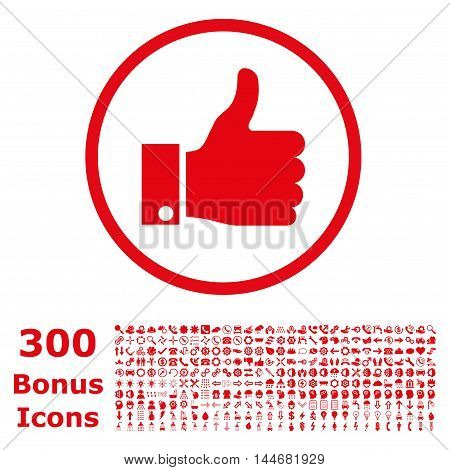 Thumb Up rounded icon with 300 bonus icons. Vector illustration style is flat iconic symbols, red color, white background.