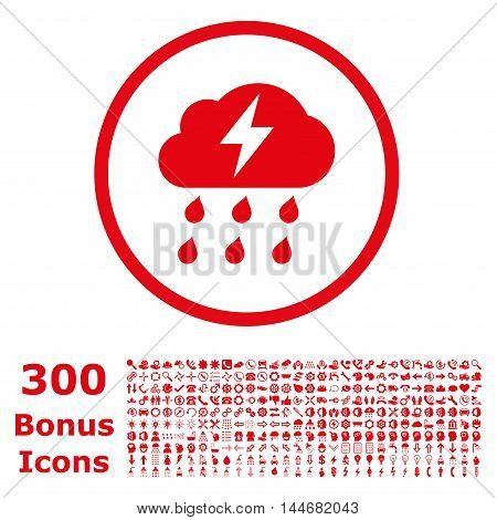 Thunderstorm rounded icon with 300 bonus icons. Vector illustration style is flat iconic symbols, red color, white background.