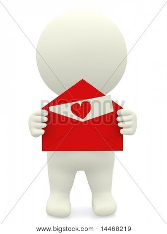3D guy with a love letter in a red envelope - isolated over white