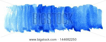 Watercolor blue cyan spot texture background isolated