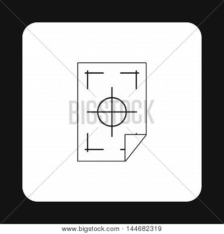 Printer marks on a paper icon in simple style on a white background