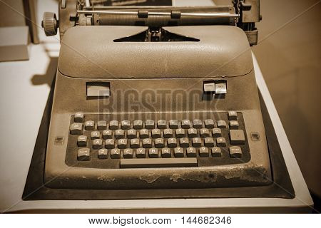 Typewriter Machine With Sepia Color